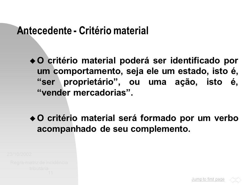 Jump to first page 23/10/2002 Regra-matriz de incidência tributária 11 Antecedente - Critério material u O critério material poderá ser identificado p