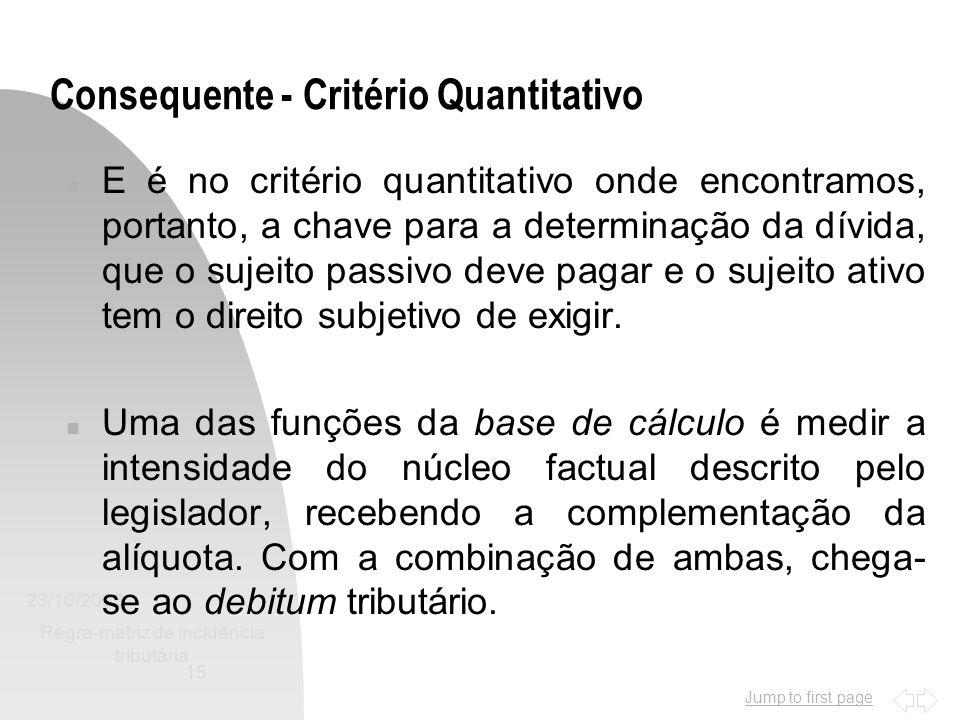 Jump to first page 23/10/2002 Regra-matriz de incidência tributária 15 Consequente - Critério Quantitativo n E é no critério quantitativo onde encontr