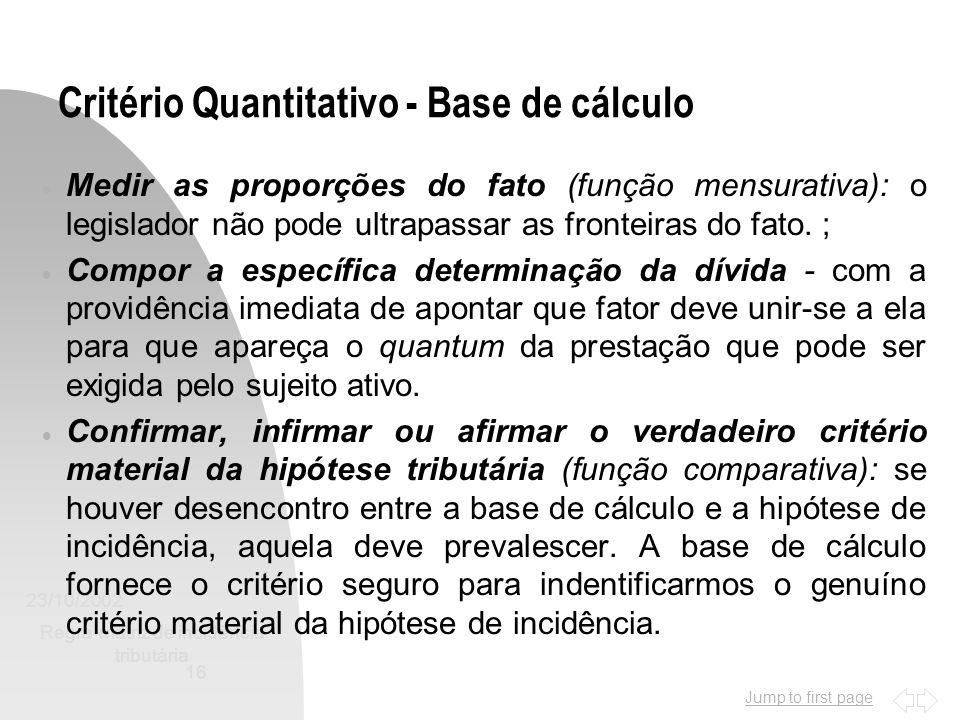 Jump to first page 23/10/2002 Regra-matriz de incidência tributária 16 Critério Quantitativo - Base de cálculo Medir as proporções do fato (função men