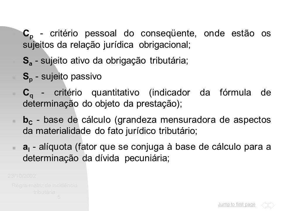 Jump to first page 23/10/2002 Regra-matriz de incidência tributária 5 n C p - critério pessoal do conseqüente, onde estão os sujeitos da relação juríd