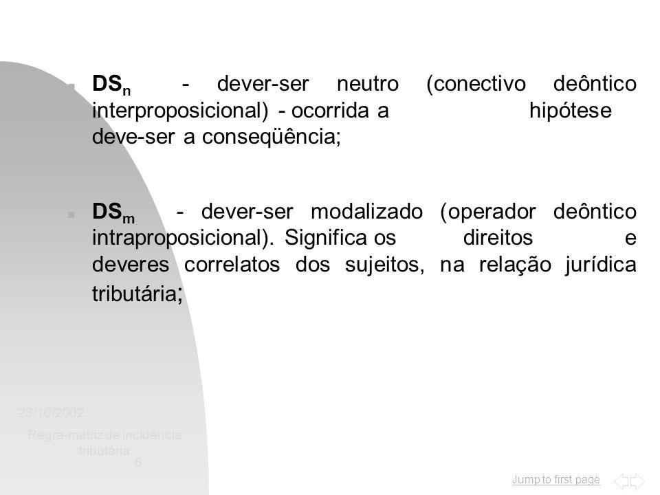 Jump to first page 23/10/2002 Regra-matriz de incidência tributária 6 n DS n - dever-ser neutro (conectivo deôntico interproposicional) - ocorrida a h