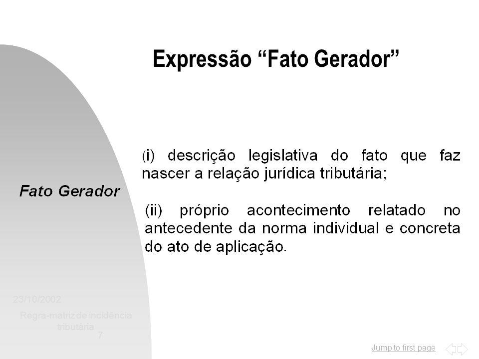 Jump to first page 23/10/2002 Regra-matriz de incidência tributária 7 Expressão Fato Gerador
