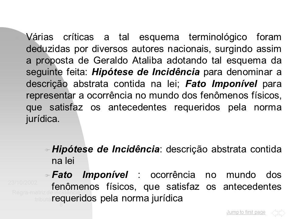 Jump to first page 23/10/2002 Regra-matriz de incidência tributária 8 n Várias críticas a tal esquema terminológico foram deduzidas por diversos autor