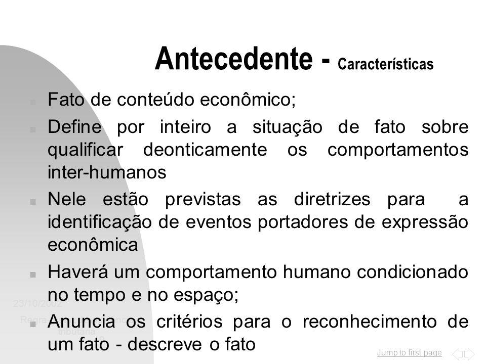 Jump to first page 23/10/2002 Regra-matriz de incidência tributária 9 Antecedente - Características n Fato de conteúdo econômico; n Define por inteiro