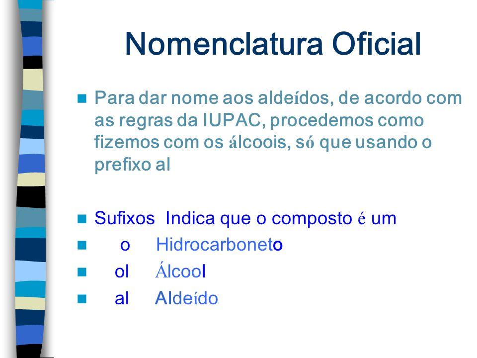 Nomenclatura Oficial Para dar nome aos alde í dos, de acordo com as regras da IUPAC, procedemos como fizemos com os á lcoois, s ó que usando o prefixo