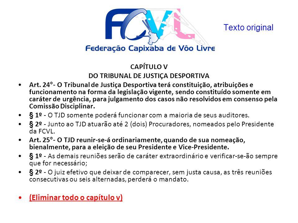 CAPÍTULO V DO TRIBUNAL DE JUSTIÇA DESPORTIVA Art. 24°- O Tribunal de Justiça Desportiva terá constituição, atribuições e funcionamento na forma da leg