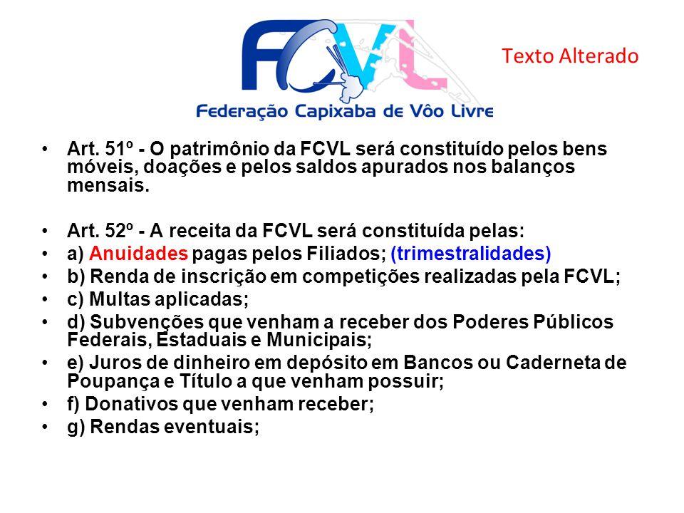 Art. 51º - O patrimônio da FCVL será constituído pelos bens móveis, doações e pelos saldos apurados nos balanços mensais. Art. 52º - A receita da FCVL