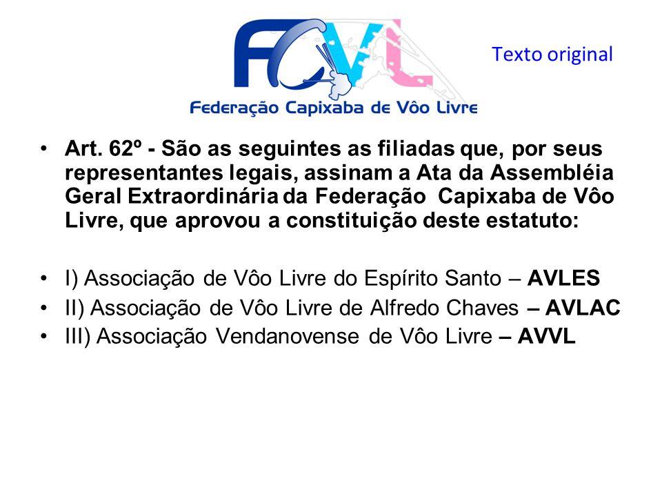 Art. 62º - São as seguintes as filiadas que, por seus representantes legais, assinam a Ata da Assembléia Geral Extraordinária da Federação Capixaba de