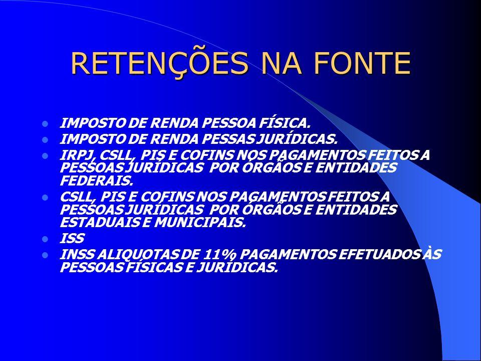 RETENÇÕES NA FONTE IMPOSTO DE RENDA PESSOA FÍSICA. IMPOSTO DE RENDA PESSAS JURÍDICAS. IRPJ, CSLL, PIS E COFINS NOS PAGAMENTOS FEITOS A PESSOAS JURÍDIC