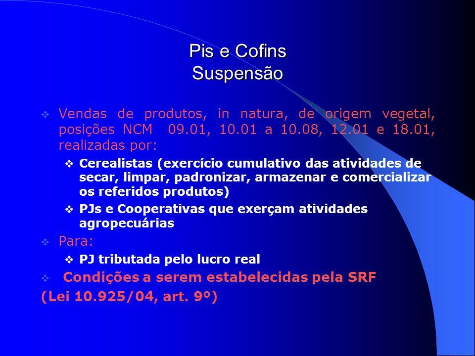 Pis e Cofins Suspensão Vendas de produtos, in natura, de origem vegetal, posições NCM 09.01, 10.01 a 10.08, 12.01 e 18.01, realizadas por: Cerealistas