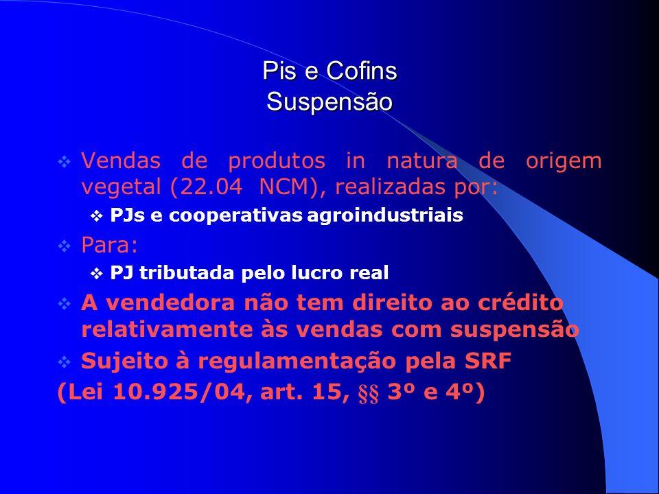 Pis e Cofins Suspensão Vendas de produtos in natura de origem vegetal (22.04 NCM), realizadas por: PJs e cooperativas agroindustriais Para: PJ tributa