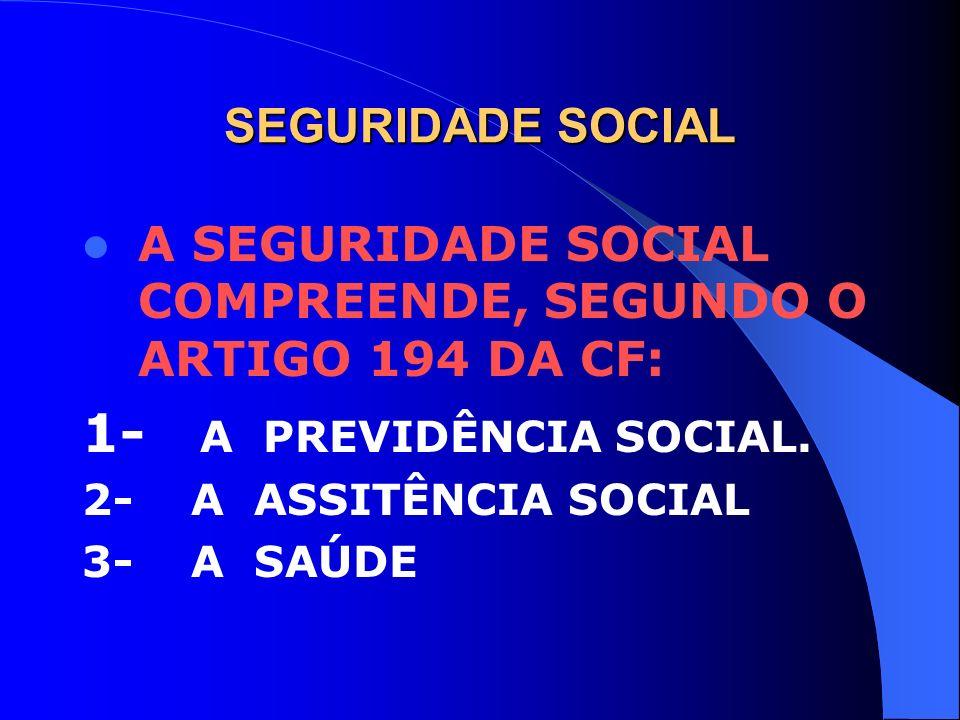 SEGURIDADE SOCIAL A SEGURIDADE SOCIAL COMPREENDE, SEGUNDO O ARTIGO 194 DA CF: 1- A PREVIDÊNCIA SOCIAL. 2- A ASSITÊNCIA SOCIAL 3- A SAÚDE