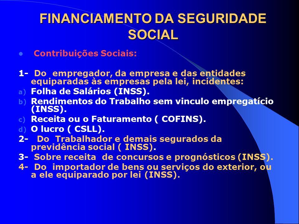 FINANCIAMENTO DA SEGURIDADE SOCIAL Contribuições Sociais: 1- Do empregador, da empresa e das entidades equiparadas às empresas pela lei, incidentes: a