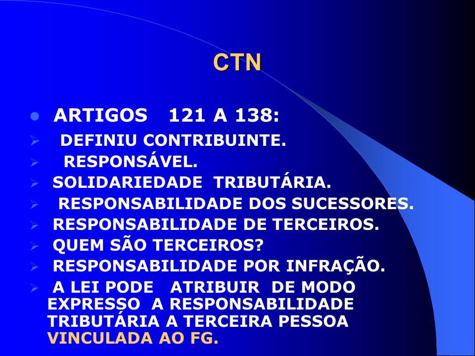 CTN ARTIGOS 121 A 138: DEFINIU CONTRIBUINTE. RESPONSÁVEL. SOLIDARIEDADE TRIBUTÁRIA. RESPONSABILIDADE DOS SUCESSORES. RESPONSABILIDADE DE TERCEIROS. QU