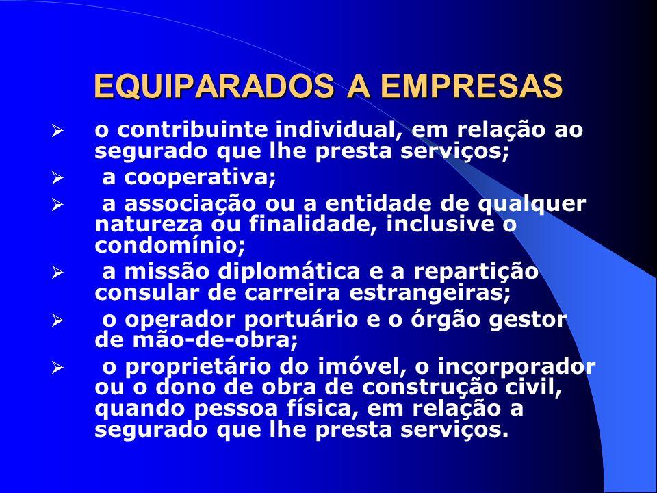 EQUIPARADOS A EMPRESAS o contribuinte individual, em relação ao segurado que lhe presta serviços; a cooperativa; a associação ou a entidade de qualque