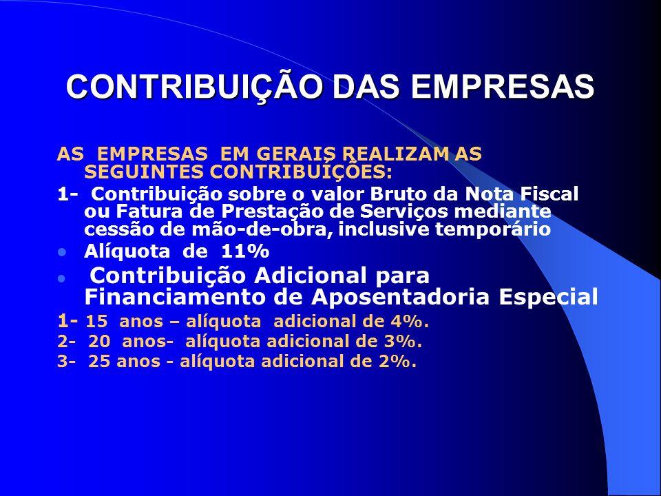 CONTRIBUIÇÃO DAS EMPRESAS AS EMPRESAS EM GERAIS REALIZAM AS SEGUINTES CONTRIBUÍÇÕES: 1- Contribuição sobre o valor Bruto da Nota Fiscal ou Fatura de P