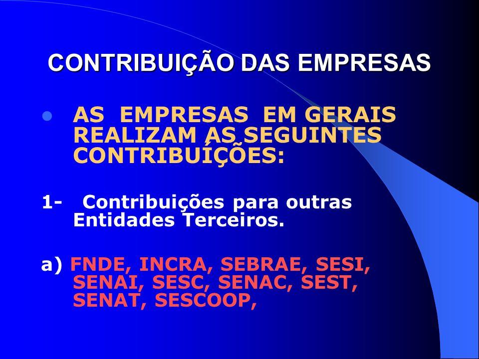 CONTRIBUIÇÃO DAS EMPRESAS AS EMPRESAS EM GERAIS REALIZAM AS SEGUINTES CONTRIBUÍÇÕES: 1- Contribuições para outras Entidades Terceiros. a) FNDE, INCRA,