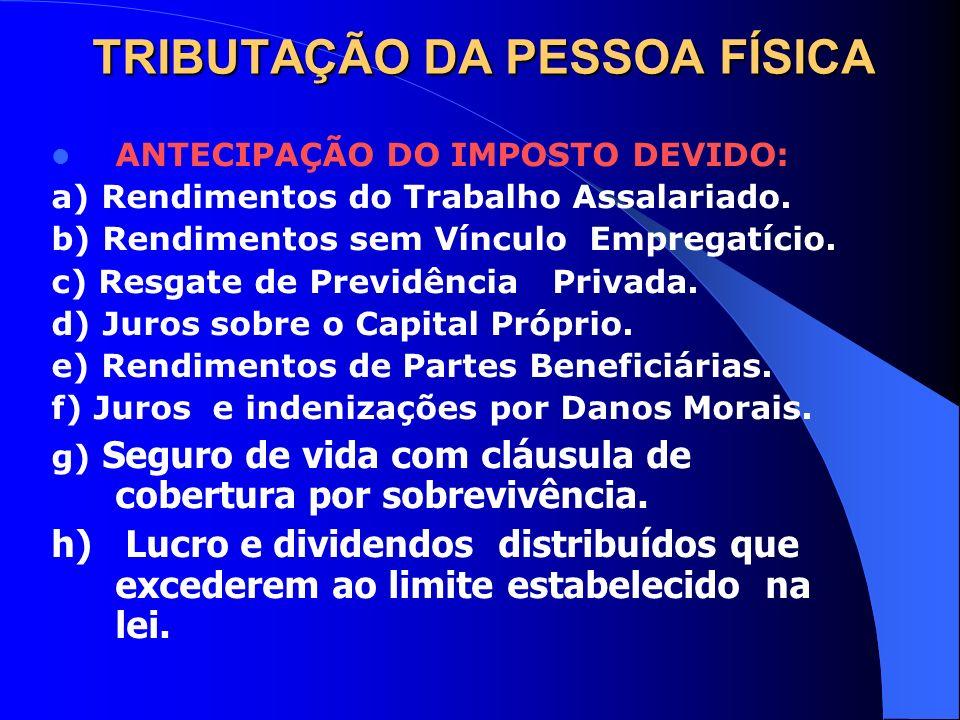 TRIBUTAÇÃO DA PESSOA FÍSICA ANTECIPAÇÃO DO IMPOSTO DEVIDO: a) Rendimentos do Trabalho Assalariado. b) Rendimentos sem Vínculo Empregatício. c) Resgate