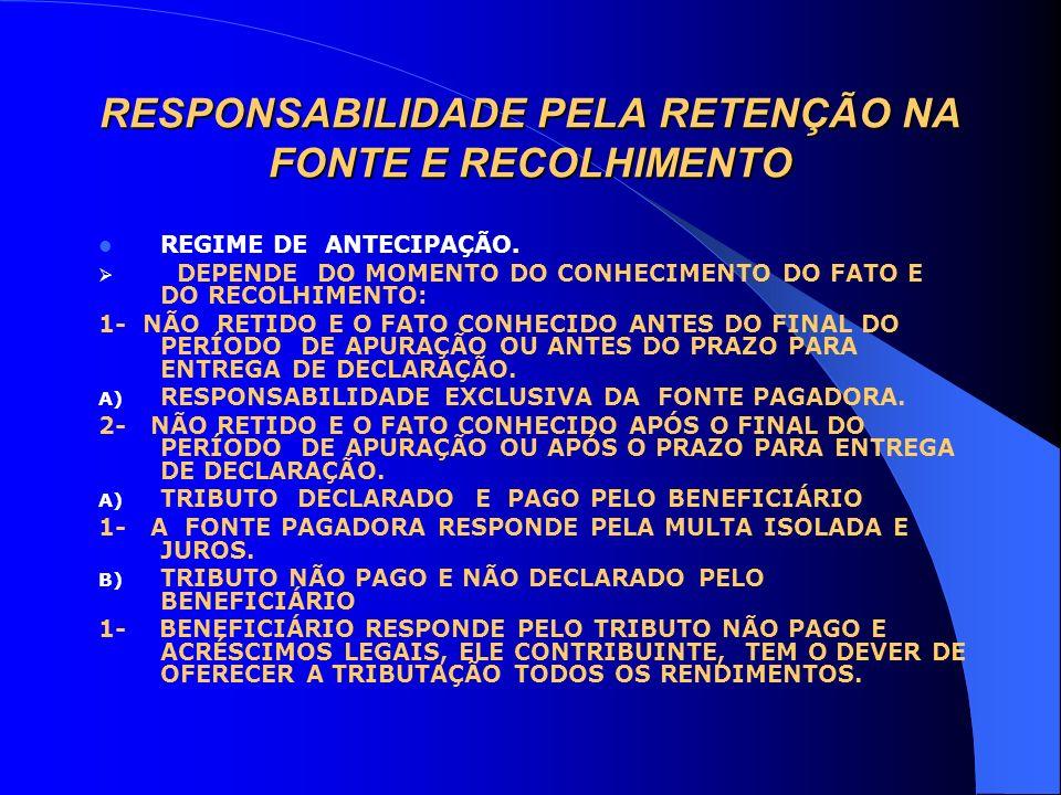 RESPONSABILIDADE PELA RETENÇÃO NA FONTE E RECOLHIMENTO REGIME DE ANTECIPAÇÃO. DEPENDE DO MOMENTO DO CONHECIMENTO DO FATO E DO RECOLHIMENTO: 1- NÃO RET