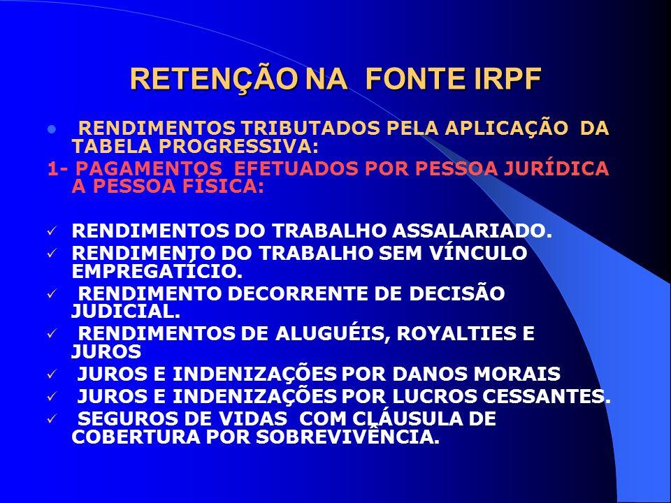 RETENÇÃO NA FONTE IRPF RENDIMENTOS TRIBUTADOS PELA APLICAÇÃO DA TABELA PROGRESSIVA: 1- PAGAMENTOS EFETUADOS POR PESSOA JURÍDICA A PESSOA FÍSICA: RENDI