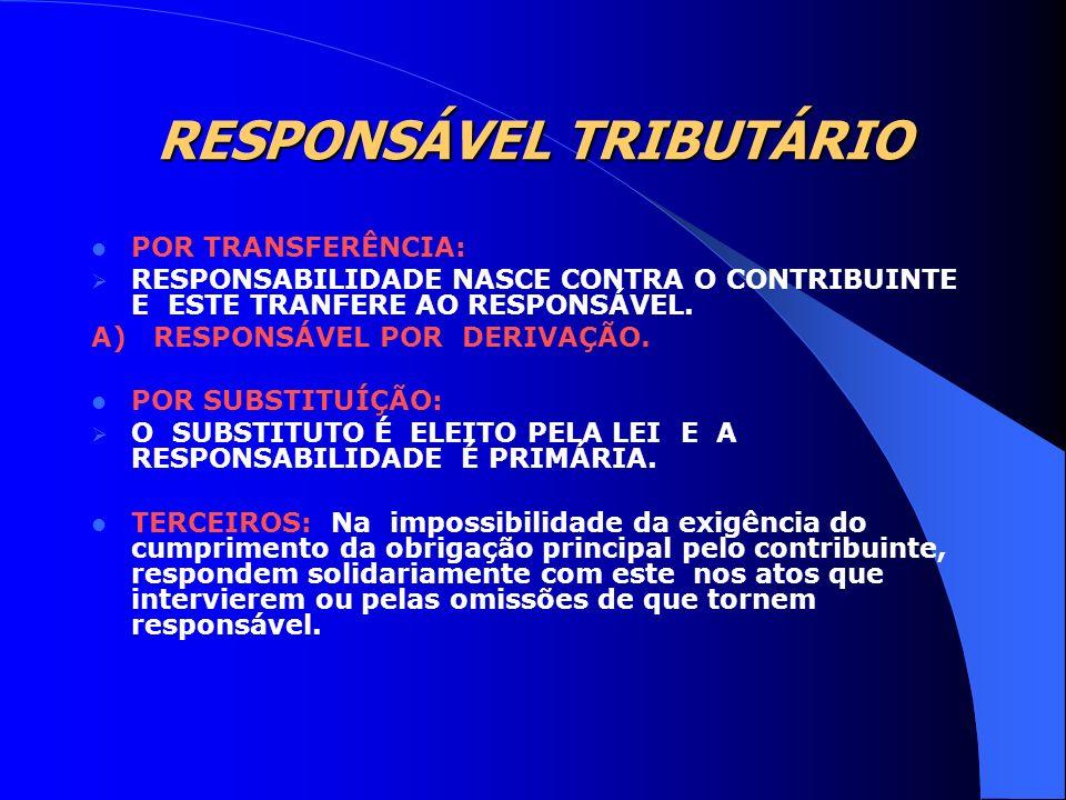 RESPONSÁVEL TRIBUTÁRIO POR TRANSFERÊNCIA: RESPONSABILIDADE NASCE CONTRA O CONTRIBUINTE E ESTE TRANFERE AO RESPONSÁVEL. A) RESPONSÁVEL POR DERIVAÇÃO. P