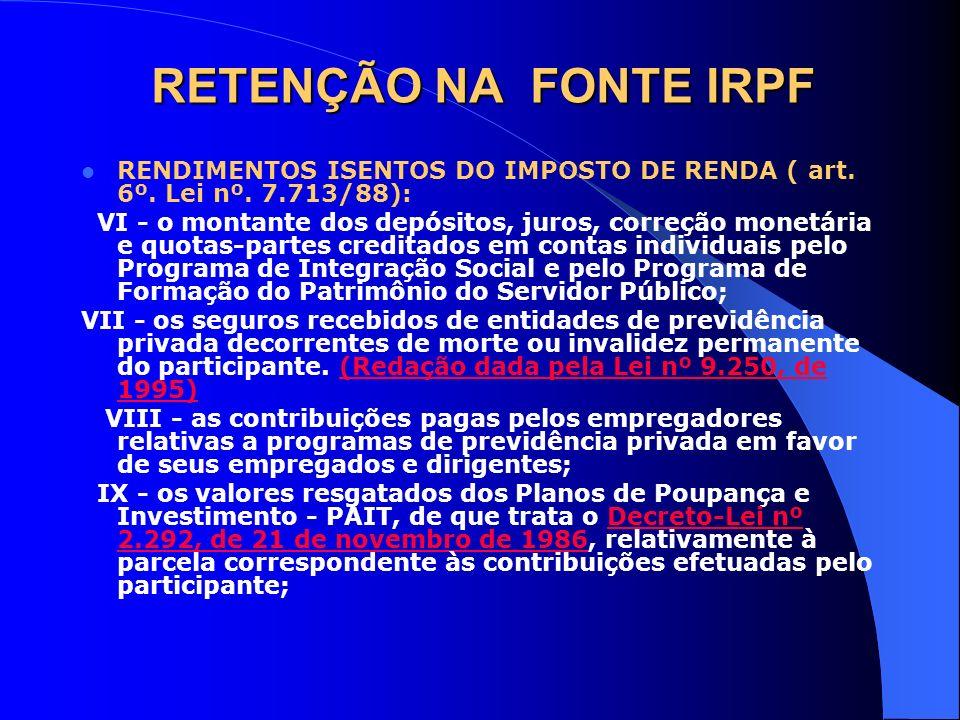 RETENÇÃO NA FONTE IRPF RENDIMENTOS ISENTOS DO IMPOSTO DE RENDA ( art. 6º. Lei nº. 7.713/88): VI - o montante dos depósitos, juros, correção monetária