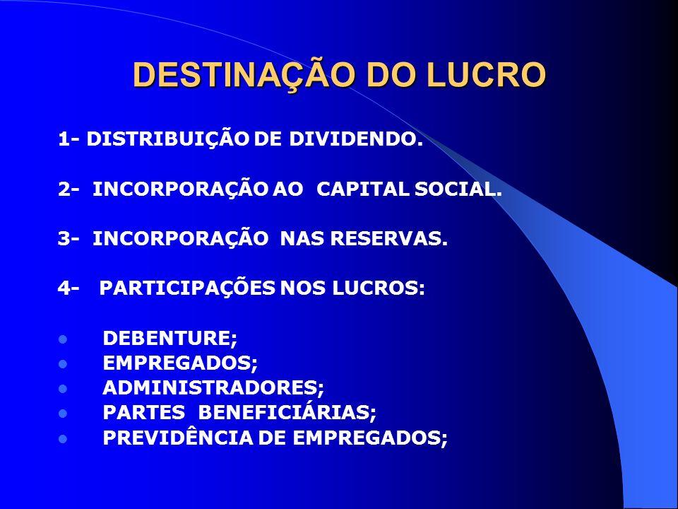 DESTINAÇÃO DO LUCRO 1- DISTRIBUIÇÃO DE DIVIDENDO. 2- INCORPORAÇÃO AO CAPITAL SOCIAL. 3- INCORPORAÇÃO NAS RESERVAS. 4- PARTICIPAÇÕES NOS LUCROS: DEBENT