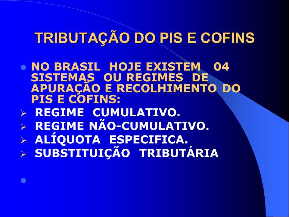 TRIBUTAÇÃO DO PIS E COFINS NO BRASIL HOJE EXISTEM 04 SISTEMAS OU REGIMES DE APURAÇÃO E RECOLHIMENTO DO PIS E COFINS: REGIME CUMULATIVO. REGIME NÃO-CUM
