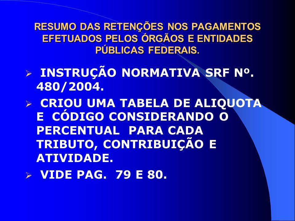 RESUMO DAS RETENÇÕES NOS PAGAMENTOS EFETUADOS PELOS ÓRGÃOS E ENTIDADES PÚBLICAS FEDERAIS. INSTRUÇÃO NORMATIVA SRF Nº. 480/2004. CRIOU UMA TABELA DE AL