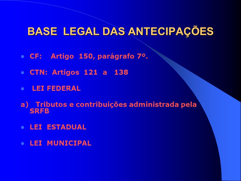BASE LEGAL DAS ANTECIPAÇÕES CF: Artigo 150, parágrafo 7º. CTN: Artigos 121 a 138 LEI FEDERAL a) Tributos e contribuições administrada pela SRFB LEI ES