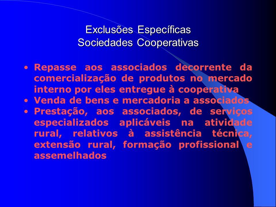 Exclusões Específicas Sociedades Cooperativas Repasse aos associados decorrente da comercialização de produtos no mercado interno por eles entregue à