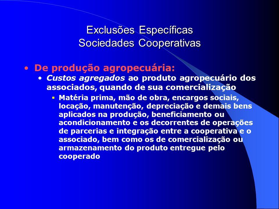 Exclusões Específicas Sociedades Cooperativas De produção agropecuária: Custos agregados ao produto agropecuário dos associados, quando de sua comerci