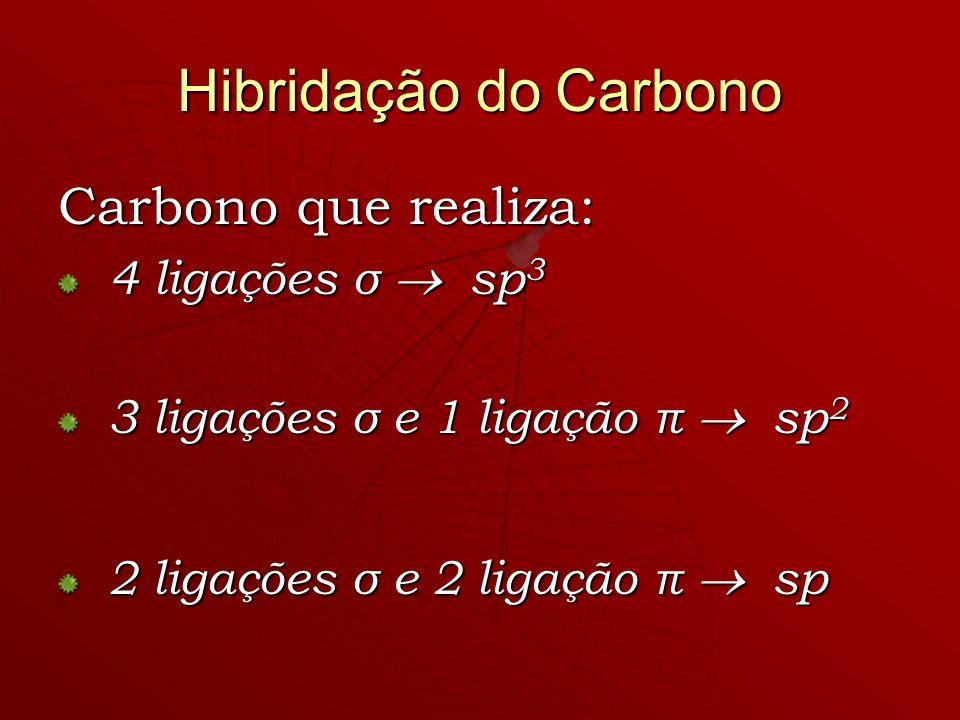 Carbono que realiza: 4 ligações σ sp 3 4 ligações σ sp 3 3 ligações σ e 1 ligação π sp 2 3 ligações σ e 1 ligação π sp 2 2 ligações σ e 2 ligação π sp