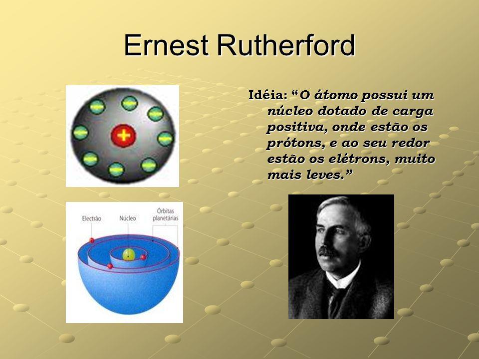 Ernest Rutherford Idéia: O átomo possui um núcleo dotado de carga positiva, onde estão os prótons, e ao seu redor estão os elétrons, muito mais leves.