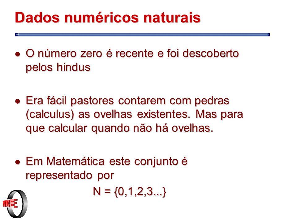 Dados numéricos naturais l O número zero é recente e foi descoberto pelos hindus l Era fácil pastores contarem com pedras (calculus) as ovelhas existentes.