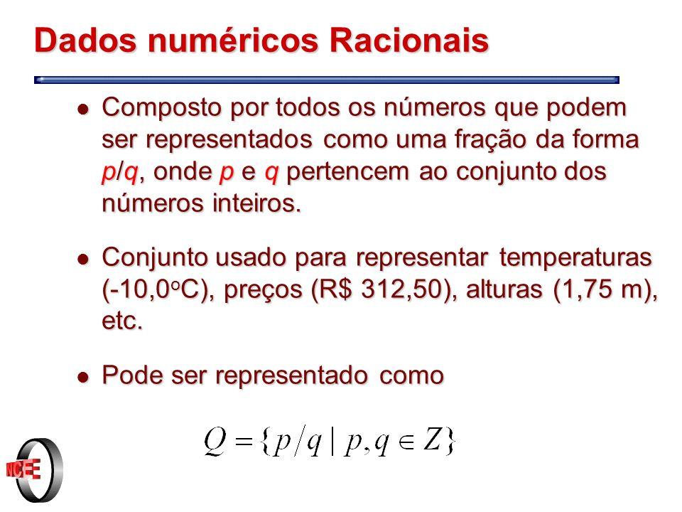 Dados numéricos Racionais l Composto por todos os números que podem ser representados como uma fração da forma p/q, onde p e q pertencem ao conjunto dos números inteiros.