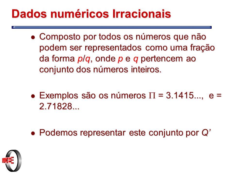 Dados numéricos Irracionais l Composto por todos os números que não podem ser representados como uma fração da forma p/q, onde p e q pertencem ao conjunto dos números inteiros.