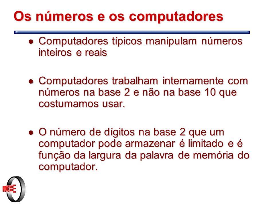 Os números e os computadores l Computadores típicos manipulam números inteiros e reais l Computadores trabalham internamente com números na base 2 e não na base 10 que costumamos usar.
