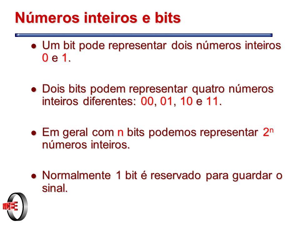 Números inteiros e bits l Um bit pode representar dois números inteiros 0 e 1.