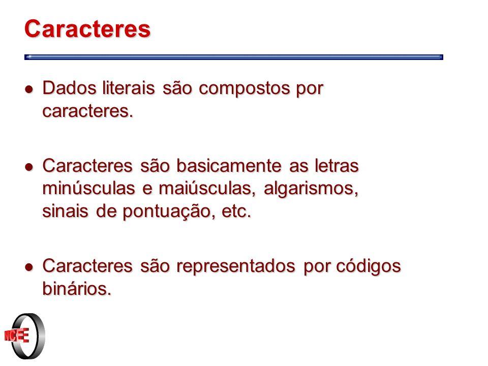 Caracteres l Dados literais são compostos por caracteres.