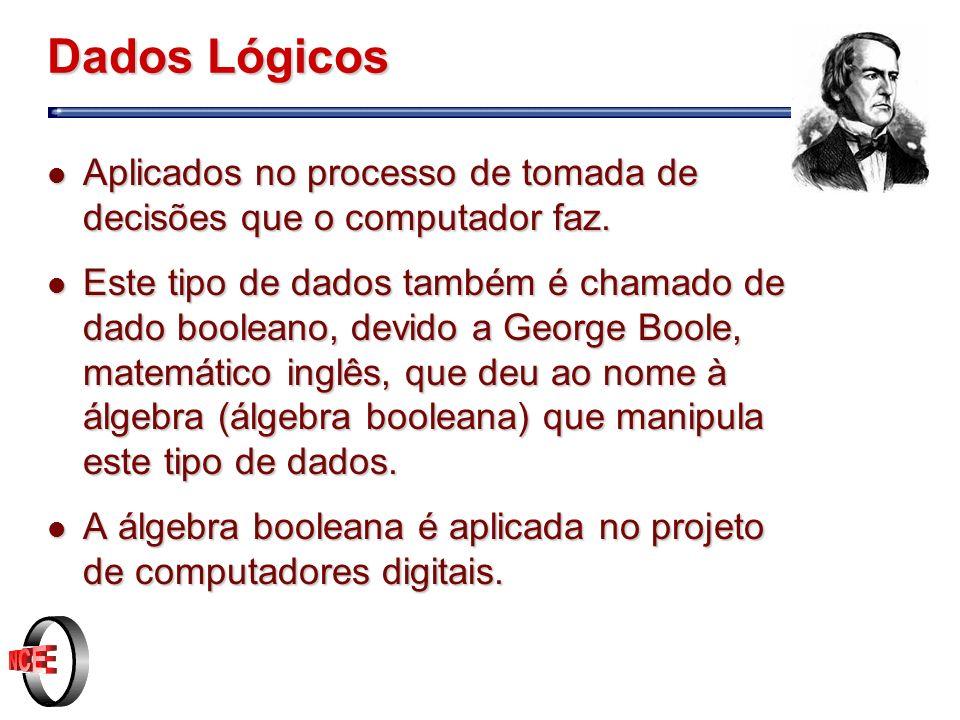 Dados Lógicos l Aplicados no processo de tomada de decisões que o computador faz.