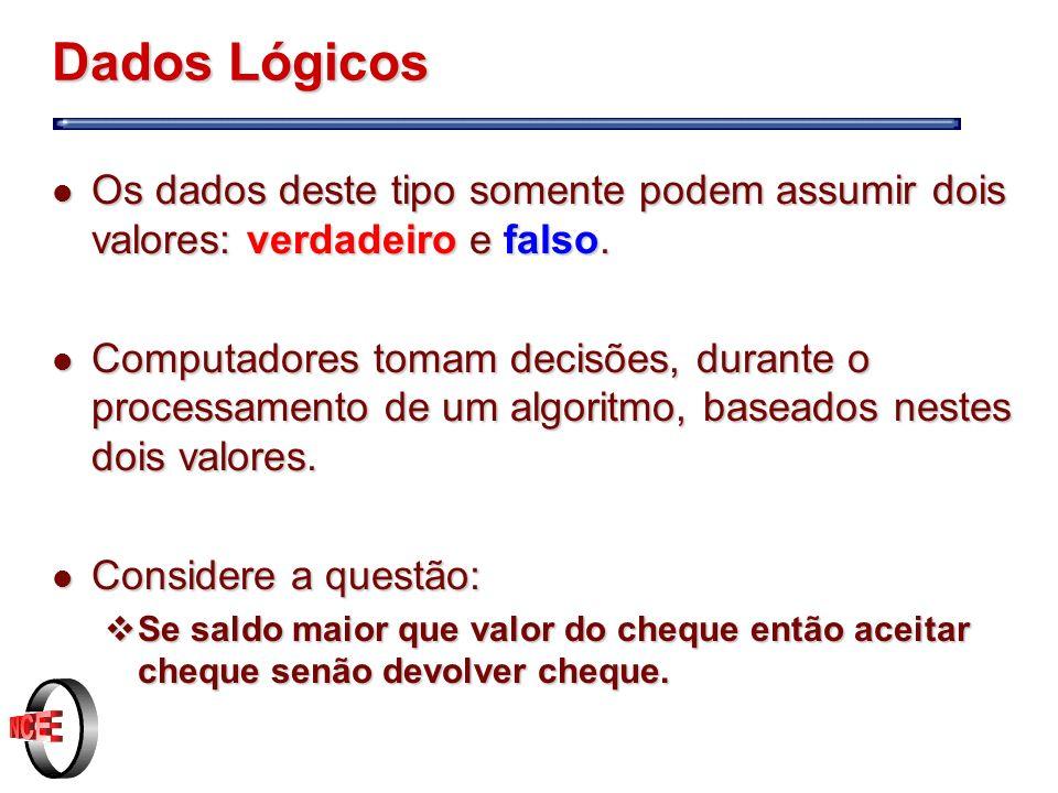 Dados Lógicos l Os dados deste tipo somente podem assumir dois valores: verdadeiro e falso.