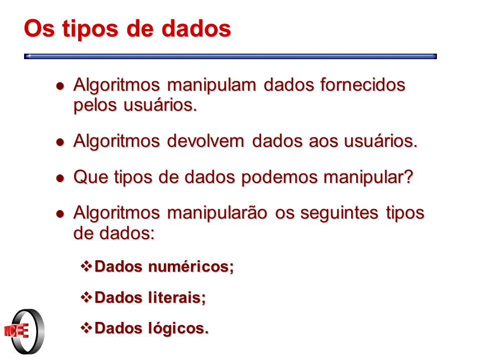Os tipos de dados l Algoritmos manipulam dados fornecidos pelos usuários.