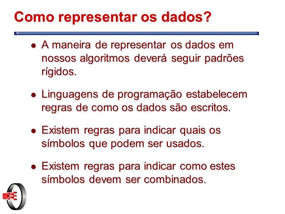 Representação l Para descrever a maneira como representar os dados iremos usar as seguintes convenções l [ ] o que estiver dentro dos colchetes é opcional.