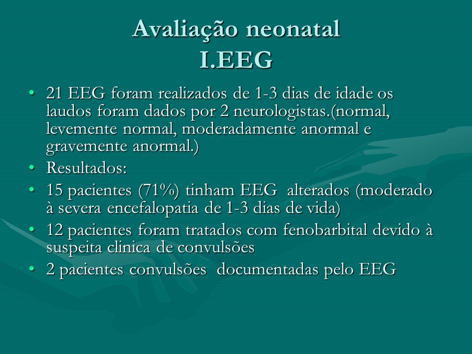 Avaliação neonatal I.EEG 21 EEG foram realizados de 1-3 dias de idade os laudos foram dados por 2 neurologistas.(normal, levemente normal, moderadamen