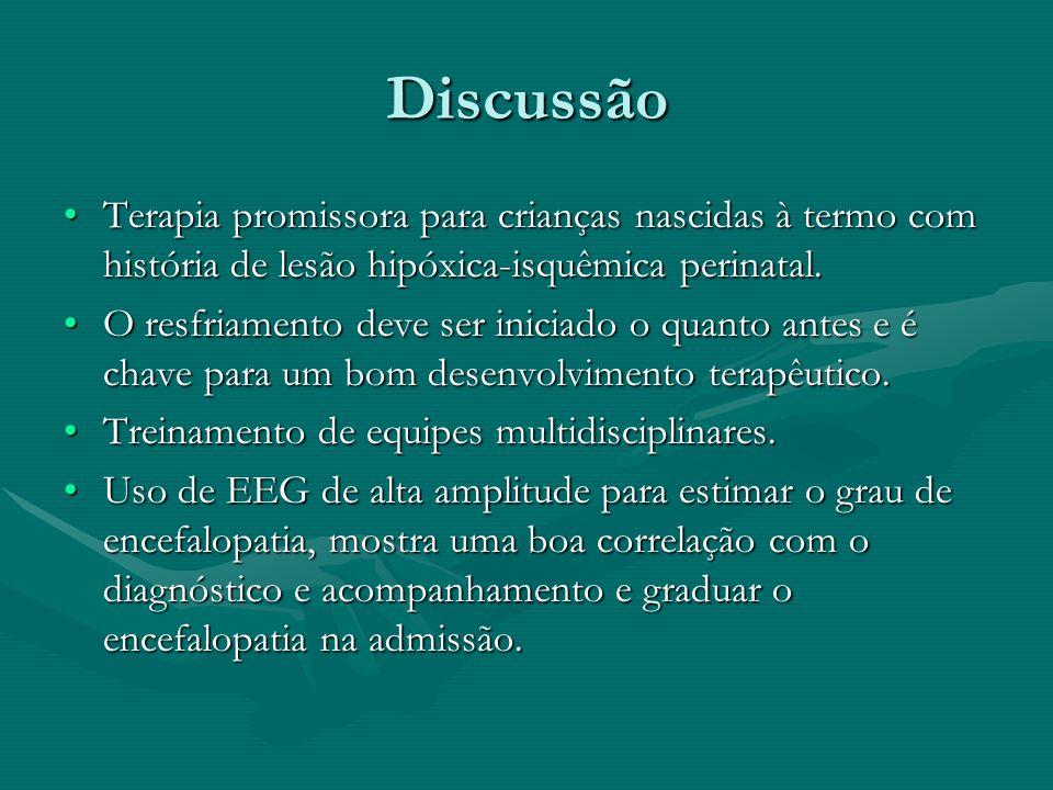Discussão Terapia promissora para crianças nascidas à termo com história de lesão hipóxica-isquêmica perinatal.Terapia promissora para crianças nascid