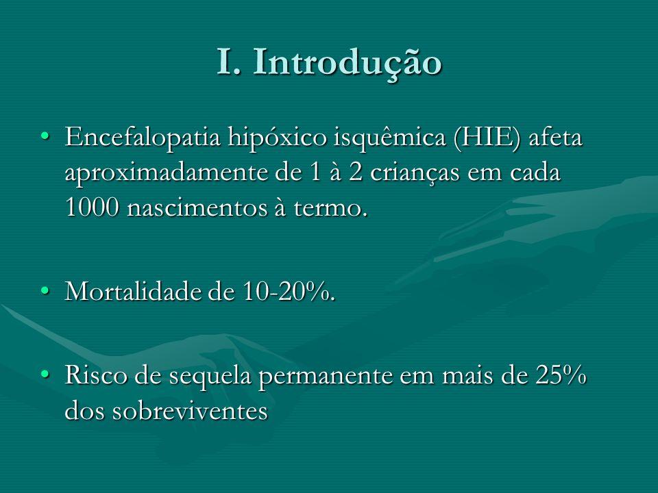 I. Introdução Encefalopatia hipóxico isquêmica (HIE) afeta aproximadamente de 1 à 2 crianças em cada 1000 nascimentos à termo.Encefalopatia hipóxico i