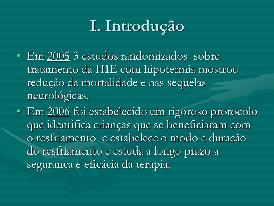 I. Introdução Em 2005 3 estudos randomizados sobre tratamento da HIE com hipotermia mostrou redução da mortalidade e nas seqüelas neurológicas.Em 2005
