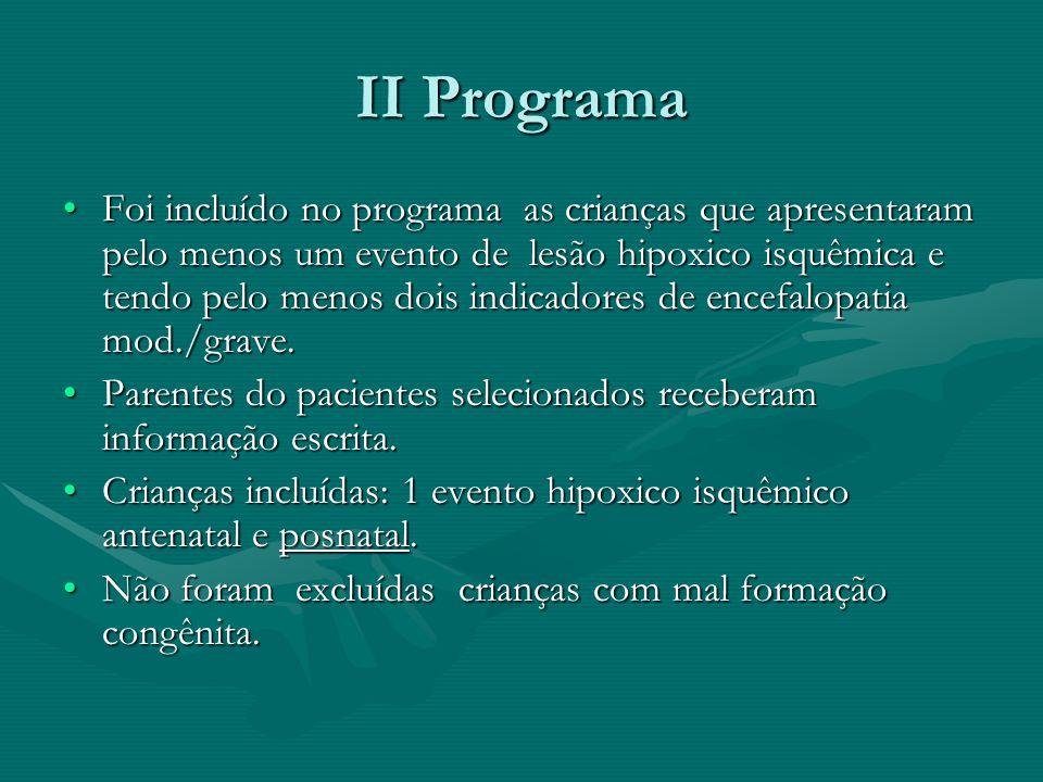 II Programa Foi incluído no programa as crianças que apresentaram pelo menos um evento de lesão hipoxico isquêmica e tendo pelo menos dois indicadores