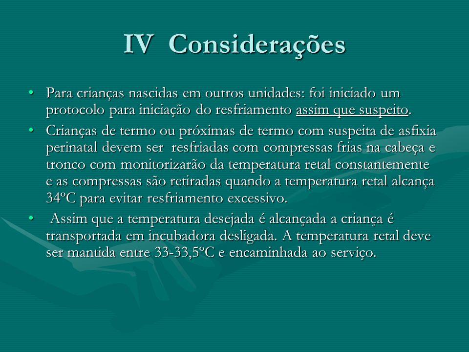 IV Considerações Para crianças nascidas em outros unidades: foi iniciado um protocolo para iniciação do resfriamento assim que suspeito.Para crianças